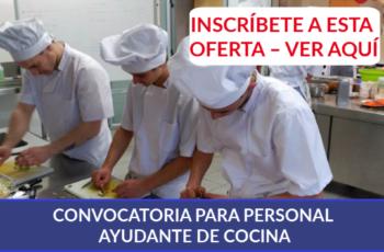 CONVOCATORIA PARA PERSONAL AYUDANTE DE COCINA
