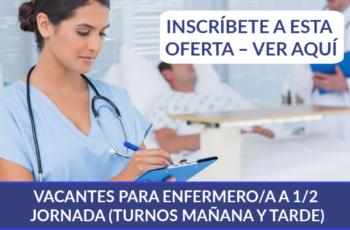 VACANTES PARA ENFERMERO/A A 1/2 JORNADA (TURNOS MAÑANA Y TARDE)