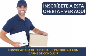 CONVOCATORIA DE PERSONAL REPARTIDOR/A CON CARNE DE CONDUCIR