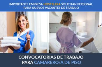 CONVOCATORIAS DE TRABAJO PARA CAMARERO/A DE PISO EMPRESA COR OUTSOURCING S.L